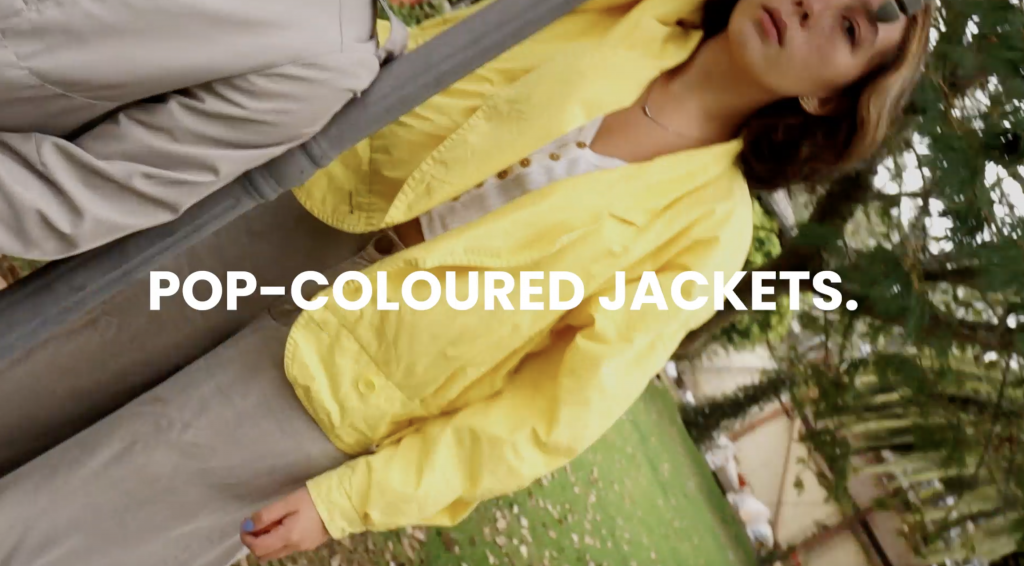 Pop-colored jackets, fall trends, 2021